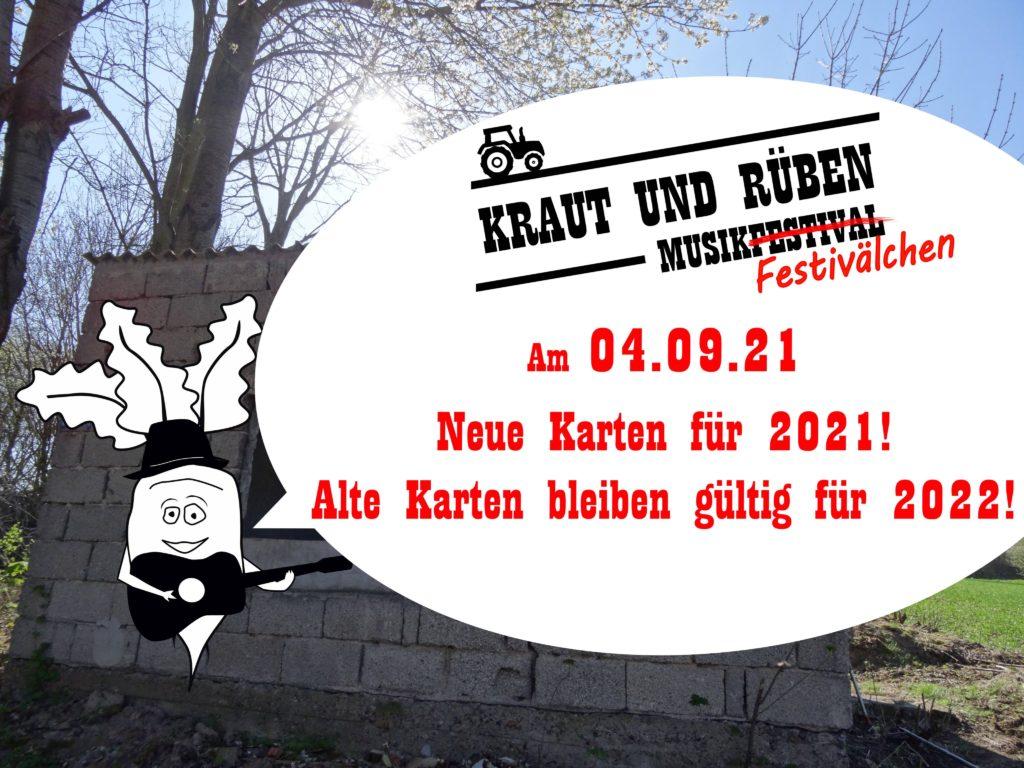 Kraut und Rüben Musikfestivälchen - am 04.09.21 - Neue Karten für 2021 - Alte Karten bleiben gültig für 2022.